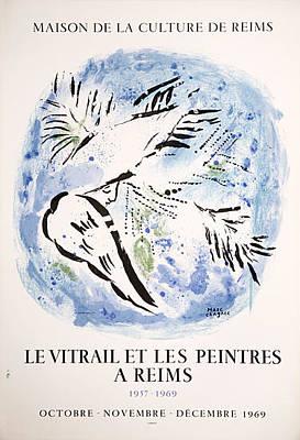 Mourlot Painting - Le Vitrail Et Les Peintres A Reims by Marc Chagall