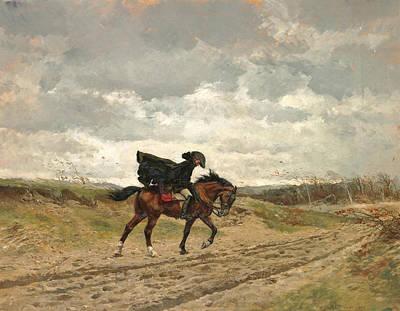 Voyageurs Painting - Le Voyageur. Marshal Ney On Horseback Fighting The Wind by Ernest Meissonier