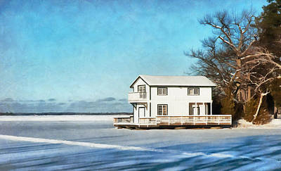 Digital Art - Leacock Boathouse In Winter by JGracey Stinson