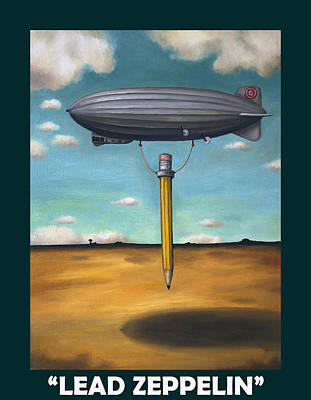 Lead Zeppelin With Lettering Art Print by Leah Saulnier The Painting Maniac