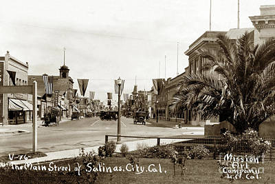 Photograph - Leader Bakery, Main Street Salinas, City, Cal. Circa 1918 by California Views Mr Pat Hathaway Archives