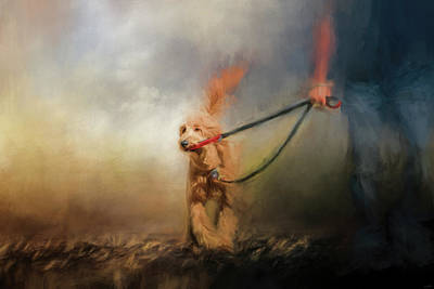 Leading Him Out Of The Storm Dog Art Art Print