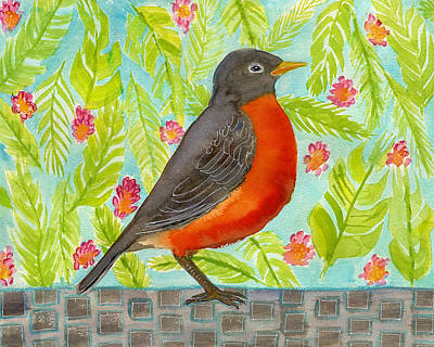 Leaf And Floral Robin Art Print