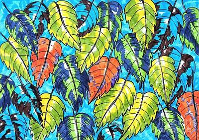 Patterned Leaves Art Print by Caroline Street