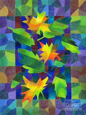 Changing Leaves Drawing - Leaf Mosaic Drawing by Kristen Fox