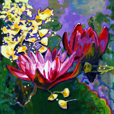 Water Lily Leaves Painting - Leaf Patterns On The Lily Pond by John Lautermilch