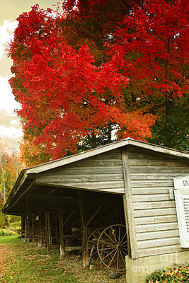 New England Barn Painting - Leaf Peeping by Mindy Sommers
