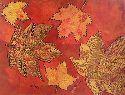 Leaf Prints And Zentangles Art Print