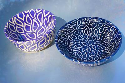 Ceramic Art - Leaf-shaped Sgraffito Bowls by Polly Castor