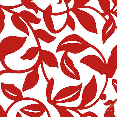 Painting - Leaf Swirl Red And White Pattern by Saundra Myles