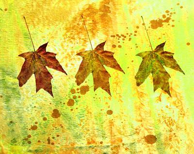 Leaf Trio Original by Ann Powell