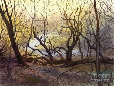 Art Print featuring the painting Leafless Trees by Sergey Zhiboedov