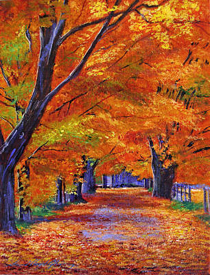 Fallen Leaves Painting - Leafy Lane by David Lloyd Glover