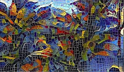 Framed Art Digital Art - Leafy Mosaic by Amanda Moore