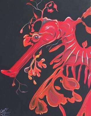 Leafy Sea Dragon - Red Original by Lawry Love