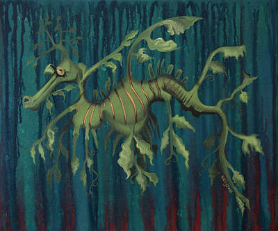 Sea Horse Painting - Leafy Sea Dragon by Kelly Jade King