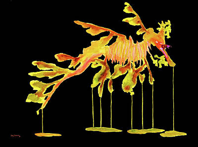 Watercolor Painting - Leafy Sea Dragon On Black by Ken Figurski
