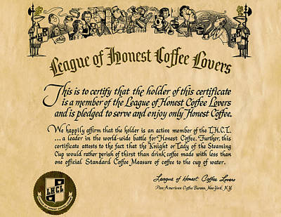 Photograph - League Of Honest Coffee Lovers Certificate by Phil Cardamone