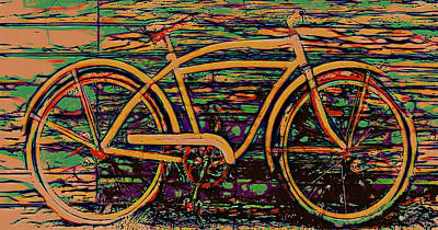 Digital Art - Lean Back Bicycle  by Cathy Anderson