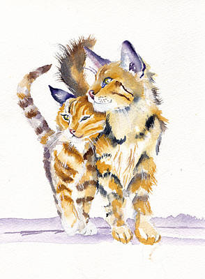 Cat Wall Art - Painting - Lean On Me by Debra Hall