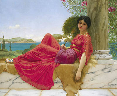 Columns Painting - Leaning Against A Column by John William Godward