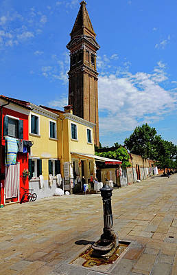 Photograph - Leaning Bell Tower Of St. Martins Church On The Island Of Burano, Italy by Richard Rosenshein