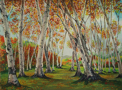 Painting - Leaning Birches by Charles Hetenyi