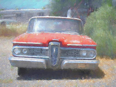 Digital Art - Leaning Edsel by David King