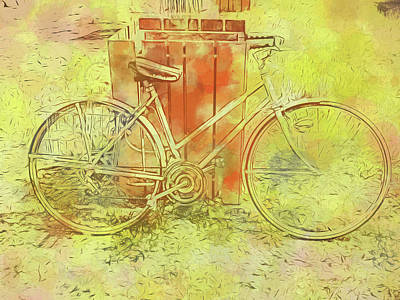 Digital Art - Leaning In Bicycle by Cathy Anderson