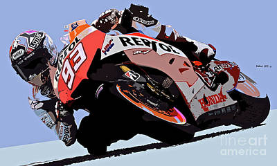 Leaning Into The Turn, Motorcycle Racer Art Print