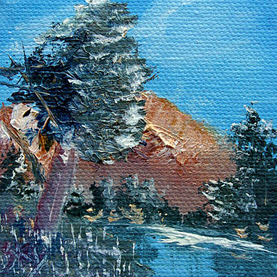 Bob Ross Style Painting - Leaning Pine Tree Landscape by Jera Sky