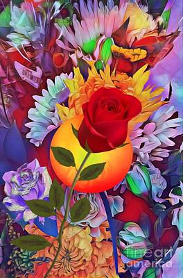 Digital Art - Leaning Rose by Gayle Price Thomas
