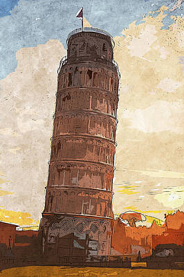 Painting - Leaning Tower Of Pisa - 04 by Andrea Mazzocchetti