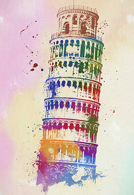 Painting - Leaning Tower Of Pisa Watercolor by Dan Sproul