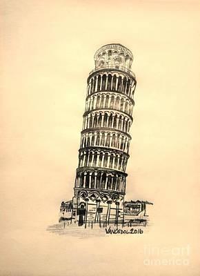 National Cemetery Digital Art - Leaning Tower Of Pisa - Yellow Background  by Scott D Van Osdol