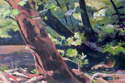 Painting - Leaning Tree At Eno River by Jude Lobe