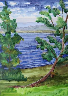 Bethany Lee Painting - Leaning Tree By Lake Sacandaga by Bethany Lee