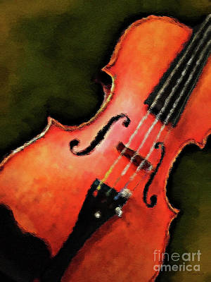 Leaning Mixed Media - Leaning Violin by KaFra Art