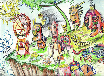 Urban Street Drawing - Leap Of Faith by Robert Wolverton Jr