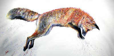 Fox Painting - Leap by Teshia Art
