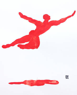 Painting - Leap Water Vermillion by Shungaboy X