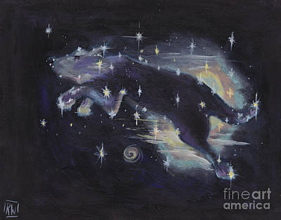 Constellations Painting - Leaping Dog Constellation by Robin Wiesneth