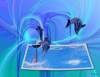 Leaping Dolphins Art Print by Roger Wedegis
