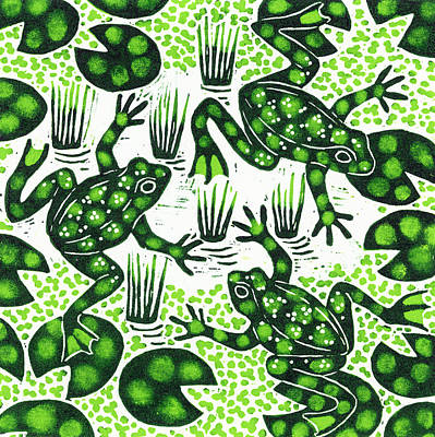 Amphibians Painting - Leaping Frogs by Nat Morley