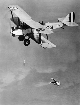 Leaping From Army Airplane Art Print by Underwood Archives