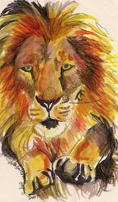 African Big Cats Drawing - Leaping Lion by Jamey Balester