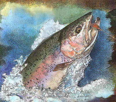 Painting - Leaping Rainbow Trout by John Dyess