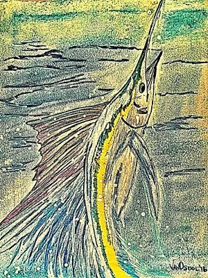 Leaping Sailfish - Digitally Painted Original