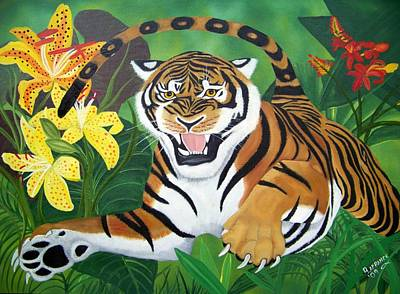 Jungle Cat Painting - Leaping Tiger by Debbie LaFrance