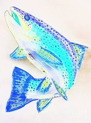 Brook Trout Drawing - Leaping Trout by Scott D Van Osdol